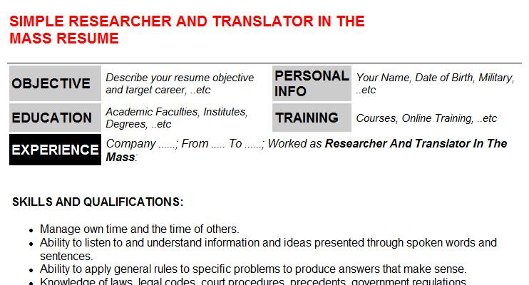 Researcher And Translator In The Mass Resume Template