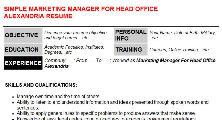 Marketing Manager For Head Office Alexandria Resume Template (#1090)