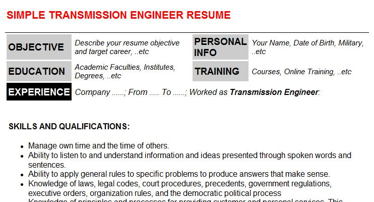 Transmission Engineer Resume Template